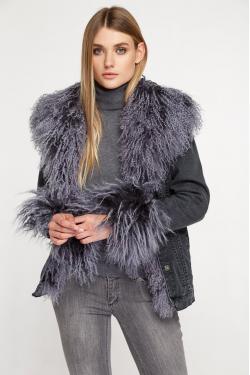 Джинсовая куртка с мехом ламы